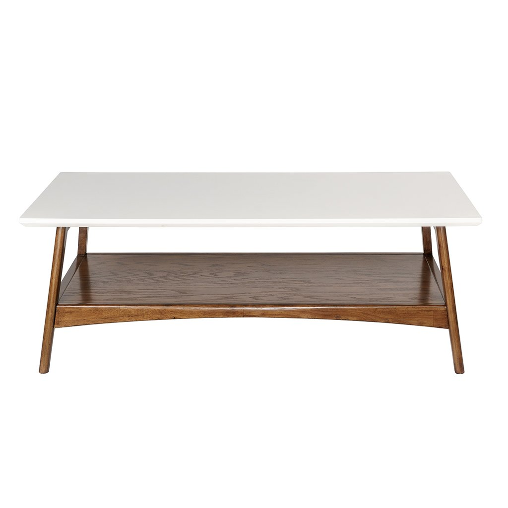 Madison Park MP120-0094 Parker Coffee Tables - Solid Wood, Two-Tone Finish with Lower Storage Shelf Modern Mid-Century Accent Living Room Furniture, Medium, White/Pecan