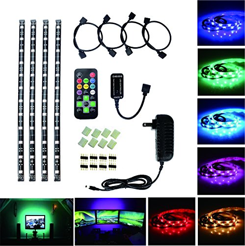 RoLightic LED Multi-color RGB Home Computer TV Back light Kit, 4 Pcs of 1ft (30cm) Pre-Cut LED Waterproof Strip Lights for Screen, Background Accent lighting with Remote Control, DC 12V Power (Accent 12v Accent)