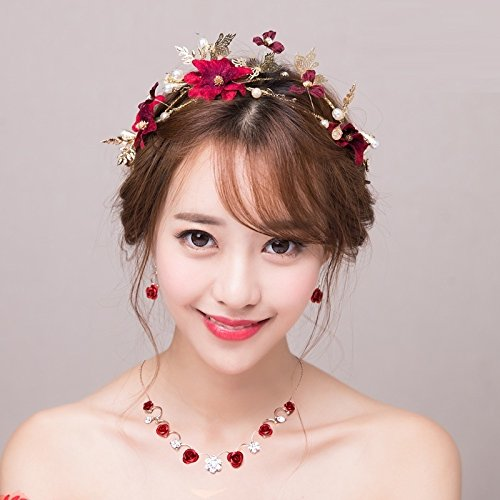 - Quantity 1x Soo_Wo_ Korean bride s_ Headdress _Pearl,stereo_sum_supplies_ Wedding Headband Crown Tiara Party Wedding Headband Women Bridal Princess Birthday Girl Gift red _hairpinHair barrette clip _h
