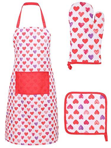 (Livingston Chef Apron Basic Cotton Kitchen Apron Glove and Potholder Set,I Love You - Multi)