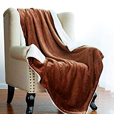 Sable Throw Blanket Fleece Sherpa Flannel Reversible Plush Soft Warm, Queen Size 60x80 inch, Brown