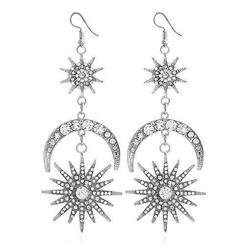 (MIXIA Exaggerated Luxury Sun Moon Stars Drop Earrings Rhinestone Punk Earrings for Women Jewelry Golden Boho Vintage Statement Earrings (Silver))