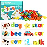Toworld See and Spelling Learning Toy, Matching Letter Games Sight Word Flash Cards Montessori Wooden Educational Toys…