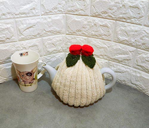 Hand knitted, Cream Tea Cosy, with Red Flowers Fits a 4-6 Cup Tea Pot - Knitted Tea Cosy