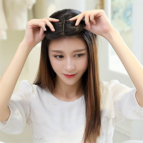 Remeehi Middle Part Real Human Hair Topper Clip in Hand Made Hair Top Piece for Thinning Hair (14inch Chestnut Brown) by Remeehi (Image #1)