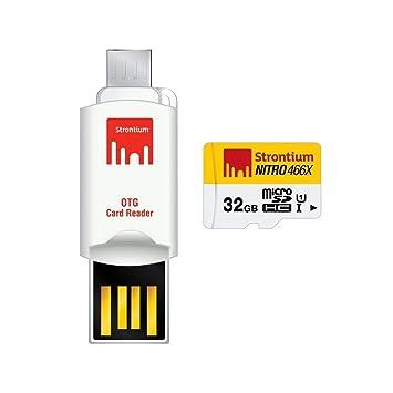 Strontium Nitro - Micro SD tarjeta 32 GB con OTG adaptador de tarjeta, Blanco