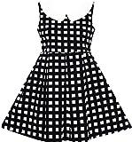 Sunny Fashion JD82 Girls Dress Turn-Down Collar Checkered Black White Summer School Size 8