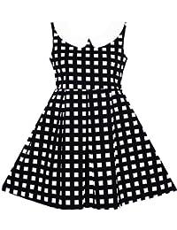 Sunny Fashion Girls Dress Turn-Down Collar Checkered Black White Summer School