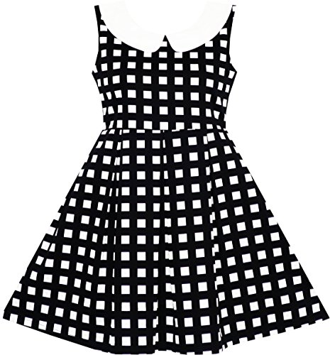JD82 Girls Dress Turn-down Collar Checkered Black White Summer School Size 8 (Kids Black Dresses)