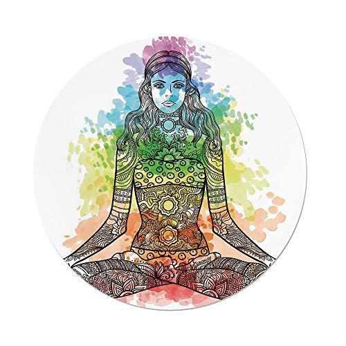 Polyester Round Tablecloth,Yoga,Tattoo Mehndi Style Vintage Ornate Woman
