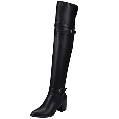 ced37a4bc74e7 Vitalo Womens Over The Knee Chunky Heel Pointed Thigh High Boots ...