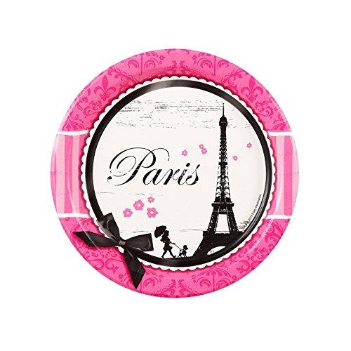 BirthdayExpress Paris Eiffel Tower Damask Party Supplies - Dessert Plates (8)