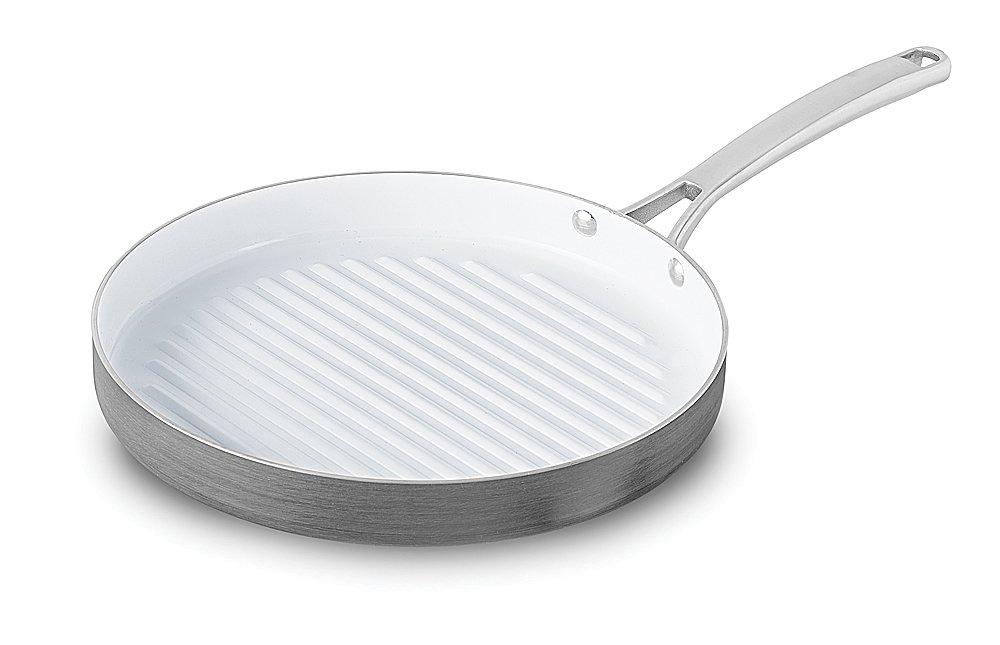 Calphalon 1937385 Classic Ceramic Nonstick Round Grill, 12'', Grey/White