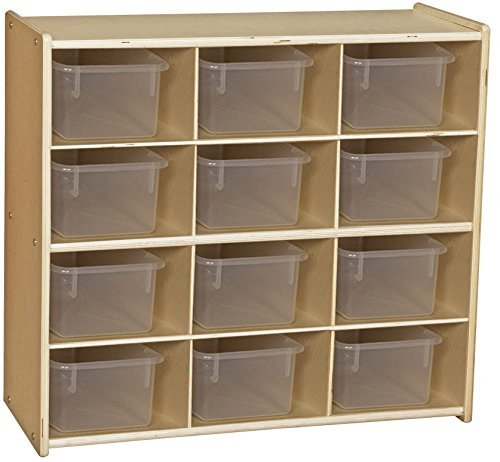 Contender C16121F Baltic Birch 12-Cubby Storage Unit w/Clear Tubs-Assembled by Wood Designs