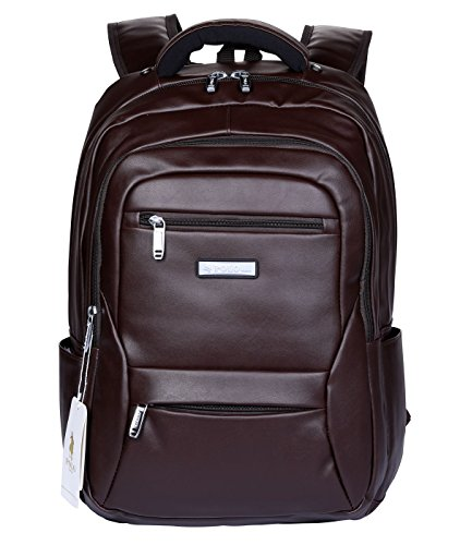 Price comparison product image POLO VIDENG Laptop Backpack, 17 Inch Water Resistant Leather Backpack Lightweight School Bookbag for College Travel Backpack for Mens and Womens (Brown-bvl)