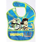 "Buzz Lightyear & Woody Toy Story ""Heroes in Training"" Waterproof Baby & Toddler Bib with Crumb Catcher Pocket (12"" X 9.5"")"