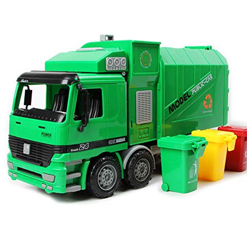 Camión transportador Coches Juguete para Niños Simulación Inercia Camión de Basura de saneamiento Camioneta de Juguete...