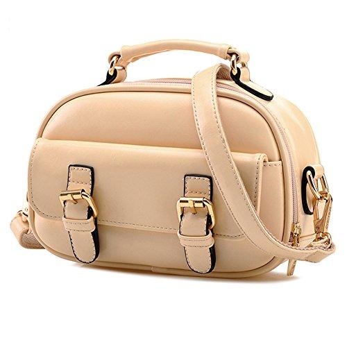 GSPStyle Damen Schultertasche Doppelt Buckles Damenhandtaschen Cross Body Tasche Umhängetasche Farbe Beige