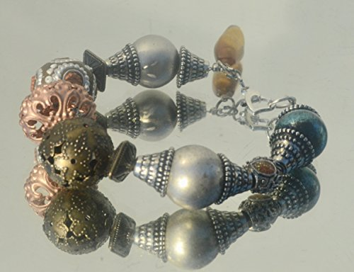 Filigree Cloisonne (Handmade Cloisonne Large Chunky OOAK Beaded Bracelet Silver Bali Beads Filigree)