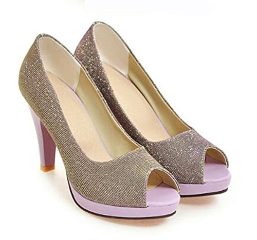 Platform High On Slip Womens Purple Toe Shoes Chunky Top Pumps Sexy Peep Heel Low Glitter Easemax vBz1B