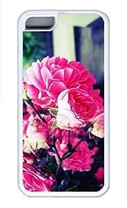 iPhone 5c case, Cute Pink Roses 2 iPhone 5c Cover, iPhone 5c Cases, Soft Whtie iPhone 5c Covers