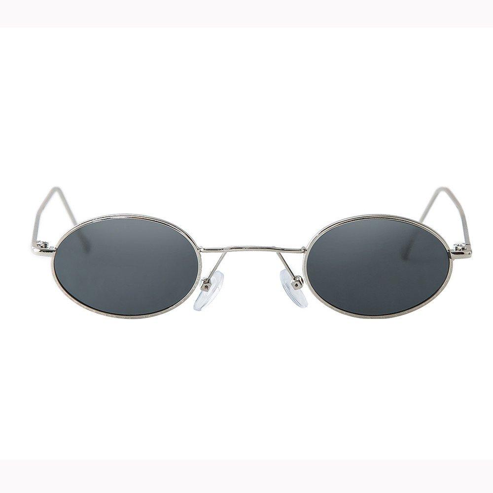 Molyveva Unisex Sunglasses Small Metal Frame Asymmetry Colorful Glasses