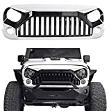 #2: Ambuker Front Gladiator Vader Grille in Gloss Black & Painted White 2007-2018 Jeep Wrangler JK & Wrangler Unlimited (W7 Paint Code,Bright White)