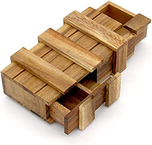 Magic Box Puzzle Rompecabezas Caja De Madera Truco Secreto De Inteligencia del Compartimiento De Dinero Mágico Caja De Regalo Truco De Madera del Rompecabezas Juegos De Magia Caja De Madera con Cajón: