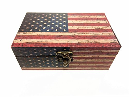 Wood Decorative Small Treasure Storage Box Retro Jewelry Holder Organizer Functional and Stylish Storage Trunk American Flag Design