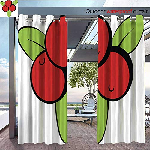Exterior/Outside Curtains Cranberry icon Cartoon for Patio Light Block Heat Out Water Proof Drape W96 x L108/Pair -