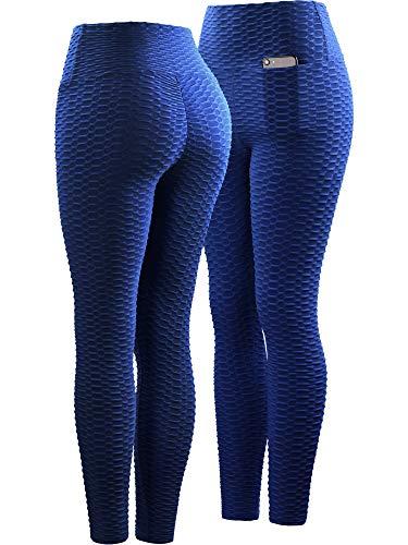 Neleus Women's 2 Pack Tummy Control High Waist Leggings Out Pocket,9036,Black/Blue,S,EU M by Neleus (Image #2)