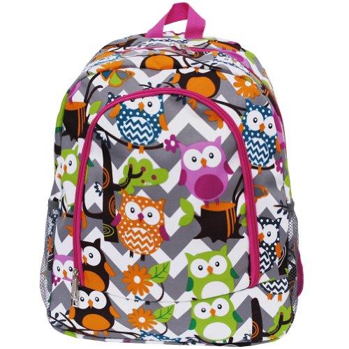 White & Grey Chevron Owl Print School Backpack Bookbag (Hotpink)