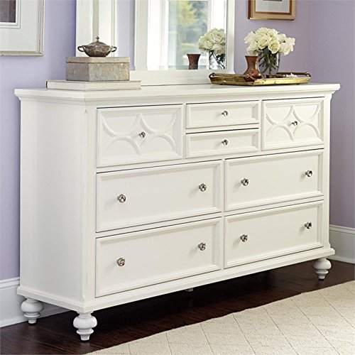 American Drew Lynn Haven 8 Drawer Wood Dresser in White -