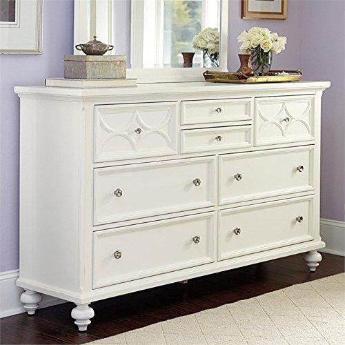 American Drew Lynn Haven 8 Drawer Wood Dresser in White - Haven Drawer