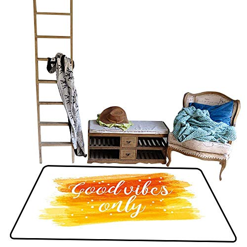 Indoor Floor mat,Watercolor Art Modern Calligraphy Message Hand Writing Letters and Dots 4'x6',Can be Used for Floor Decoration