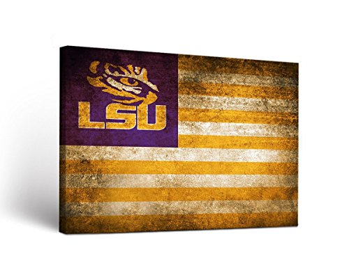 (Victory Tailgate Louisiana State LSU Tigers Canvas Wall Art Vintage Flag Design (18x24))