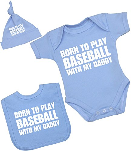 BabyPrem Baby Onepiece Bib Hat Set Born to Play Baseball with Daddy Boy Clothes Newborn Blue