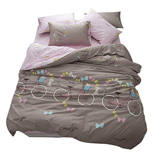 (FenDie Lovely Butterfly Knot Printed Girls Duvet Cover Set Bicycle Pattern Bedding Set 100% Cotton Modern Teens Duvet Cover Brown/Pink Queen 3 Piece Bedding Collections Set, No Comforter)
