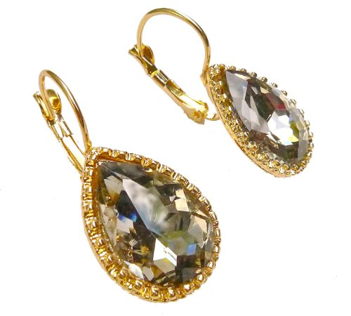 Smokey Crystal Faceted Teardrop Faceted Scalloped Bezel Leverback Earrings
