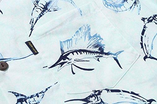 Hombres Aloha camisa hawaiana en pescados de la aguja Azul Azul