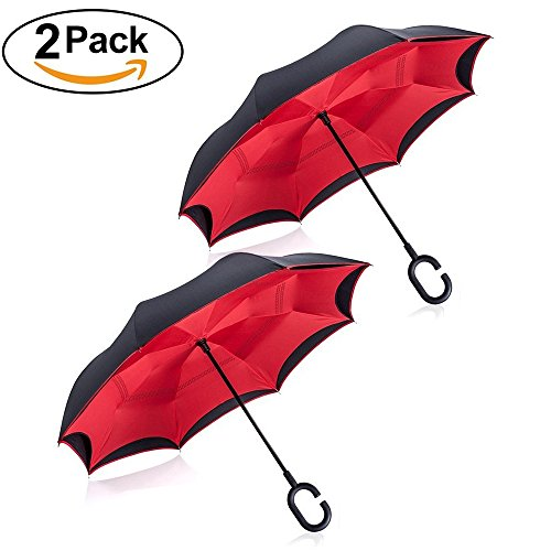 Upside Down Umbrella Windproof by TOOGE, Double Layer Inverted Umbrella Waterproof for Car Rain Outdoor with C-Shaped Handle (Red + Red) (Down Umbrella)