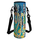 iPrint Water Bottle Sleeve Neoprene Bottle Cover,Board Game,Ghost Ship with Pirates Lighthouse Tropical Island Waters Buccaneer Ocean Palms,Multicolor,Fit for Most of Water Bottles