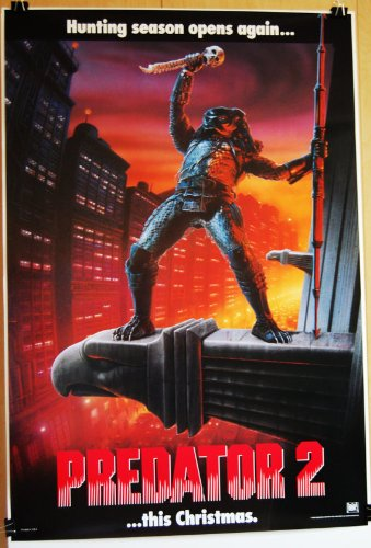 1990 Predator 2 Original Rolled Teaser Movie Poster Danny Glover Gary Busey