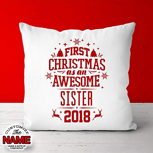 Amazon Penelope First Christmas As An Awesome Sister Grandma Gift Birthday Mothers Day Pillow Idea Baby Shower Pregnancy