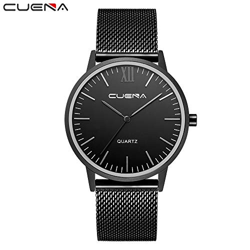 Outsta Fashion Men Watches Crystal Stainless Steel Analog Quartz Wrist Watch Bracelet for Men Nice Gift (A)