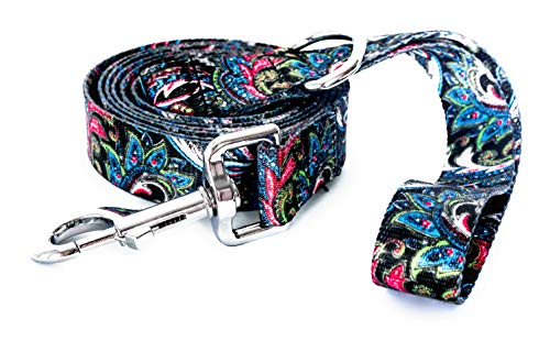 Alpha Lifestyle Pets Dog Leash/Lead, 6 Foot Length, Teal Paisley Pattern with Matching Collar Sold Separate