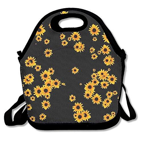 Food Storage Bag Zipper Bags Sunflower Floral Pattern Lunch Bag Tote Backpack For Adult Or Children