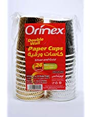 Orinex Silver And Gold Paper Cups, 24 Pieces, Multi Color