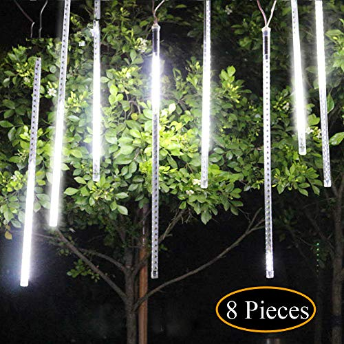 UBEGOOD Meteor Shower Lights, Falling Rain Drop Christmas Light, Waterproof LED Icicle String Lights for Holiday, Party, Wedding, Christmas Halloween Decoration (30cm/11.8in 8 Tubes 144 LED, White) ()