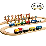 Best Melissa & Doug Kids Birthday Gifts - 28PCS Wooden Train Cars & Vehicles Play Set Review
